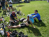 Crashed out on the lawn after seven hours of mountain biking (Rich, Megan and Justin).  Team Megan and Alex got 295 points in 85km, Rich and Justin managed 250 points in 75km; both finishing in just under the seven hour cutoff.