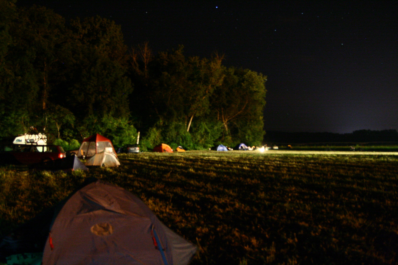 Saturday night in the camping area.  It wasn't really so bright;  This is a 4-second handheld exposure.  Next year I'll bring a tripod.