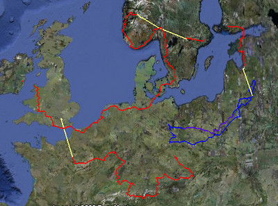 The route around Europe.  Red is cycling, yellow is public transport of some sort, blue is a loop by car (although we also did a car loop around Ireland we don't have the GPS track for it).  <br /> <br /> 10,100km of cycling