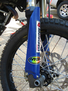 Husqvarna fork guards. The blue goes nicely with the G650X. If you're into that sort of thing...