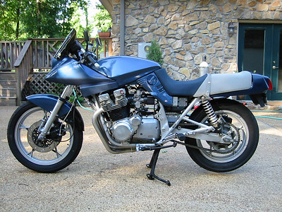 1982 Katana 1000S - this one has an 1100 top end on it, Yoshimura cams, Lockhart oil cooler, lightweight fiberglass bodywork, Kerker pipe...Fast old school stuff.