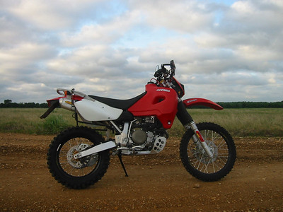 2003 XR650R. I put 11,000 miles on this bike the first year I had it. It has done a few Mexico trips and also did the TransAm Trail.   More modifications than you could count.