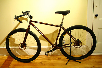 """I also experimented a little bit with running wide, shallow """"dirt drop"""" bars on the bike."""