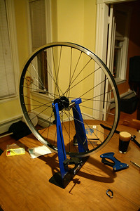 The wheel building went much quicker than I expected, considering I'd only built one pair before, a year ago.  I got both wheels laced and one of them tensioned and trued in the first evening;  Finished up the next night.