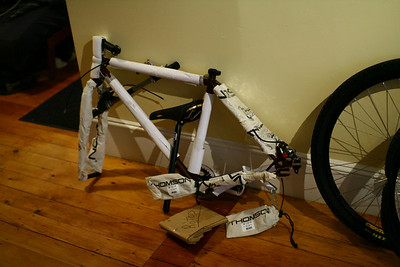 So I'd been thinking about getting a Surly Karate Monkey to build into a snow bike, and I found a well-equipped one on eBay at a good price.  The seller's packing job was very thorough.