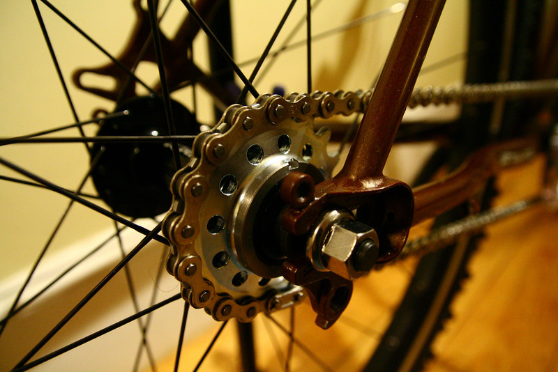 I'd wanted to try a fixed gear bike off road for a while;  I'd read that the extra feedback about traction conditions at the rear wheel would be useful when riding in snow and ice, and the simple drivetrain should be more reliable in snowy conditions -- no delicate moving parts to get clogged up with ice.  Besides that, I didn't have all the parts I'd need to put on a rear brake, so running fixed gave me some means of braking the back wheel.