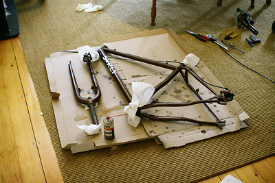 ...in order to apply Frame Saver, a spray-in coating to protect the unpainted interior of the steel frame from rust.  It seemed like a good idea  given that I expect this bike to see lots of damp weather duty.