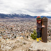 <b>6 April 2013</b> Finn does circuits of the summit post while we admire the strangeness of Butte, Montana
