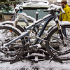 <b>8 April 2013</b> Snowy bikes as we leave Jackson