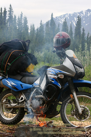 Stopped for a fish lunch on the side of the Denali Highway, Alaska