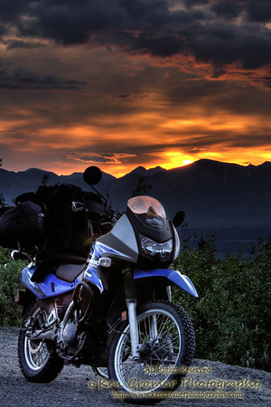 Kawasaki KLR 650 on the Denali Highway. - This picture appeared in the September 2010 edition of American Motorcyclist Association (AMA) magazine.