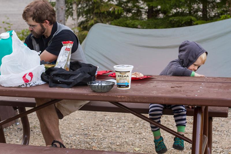 <b>26 July 2013</b> Breakfast at camp
