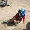<b>26 July 2013</b> Finn rolling around in the dirt a little before we start riding