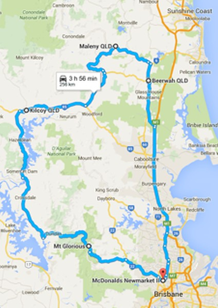 Steel Horses North Ride - Sunday 27th September 2015. Hurricane took us from Newmarket (Brisbane) to Kilcoy (via Mount Glorious) for a smoko stop. From there it was on to Maleny for lunch (via Woodford). Then on to Beerwah, and finally the ride finished at the Twin BP's. Ride Captain: Hurricane.