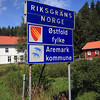 <b>6 Aug</b>Crossing into Norway - there was actually a sign for us on this border crossing, often there's nothing to show you've gone from one country to another.
