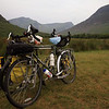 <b>2 July</b> The bikes relax - we've found our first campsite in Wales, a nice little spot of ground on a farm with sheep wandering past your tent