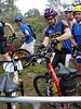 Alex and Dyon race up to grab their bikes at the start