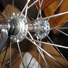 """Crow's Foot"" or hybrid lacing on a Shimano 32-hole small flange front hub."