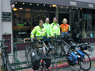 Breakfast at Linnaea's cafe in San Luis Obispo. Group from left to right: Nancy, Christine, Nancy & Jill  I love the bike racks with plaque all over San Luis Obispo http://www.slocity.org/publicworks/transportation/racks.asp
