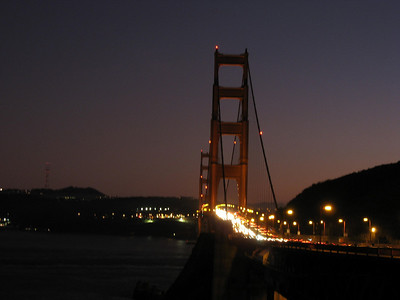 Sunset in Sausalito. Golden Gate at night (a lot of commuters are on their bike)
