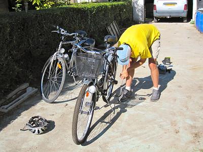 Preparing my parents' bikes