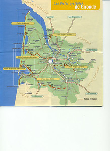 Map with biking paths of Gironde. http://www.tourisme-gironde.cg33.fr/cdt_piste_cyclable.asp  http://www.voiesvertes.com/htm/departement33.htm