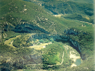 Photo of an aerial view of Pont d'Arc (Ardeche River)