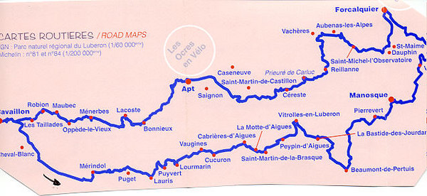 Map that we followed for our Tour du Luberon (Counter-clock wise) http://www.parcduluberon.com/iti/popup/images/Lubvelo.pdf