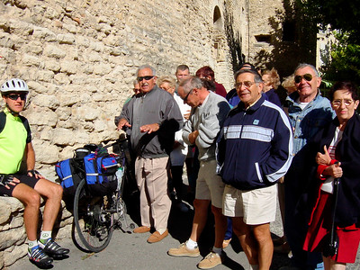 French bikers talking to Dave in Gordes. Mistral was very strong today and it was a challenging ride