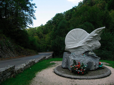Memorial for Fabio Casartelli Crazy hairpins and 17% stretches in the shaded woods  http://en.wikipedia.org/wiki/Fabio_Casartelli