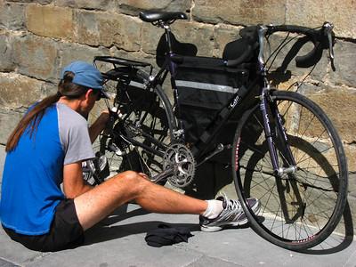 After the rain, some bike maintenance in Jaca
