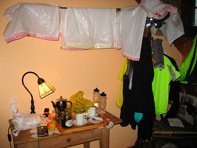 Our room after a rainy ride (Anso)