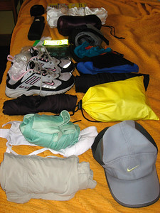 Ready to pack my gear before crossing the Pyrenees into France