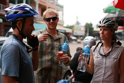 Ermanno, Adam and Mary in Sisophon where we were stocking up on water and snacks for the day.
