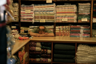 A tired scarf salesman in the Grand Bazaar, Istanbul.