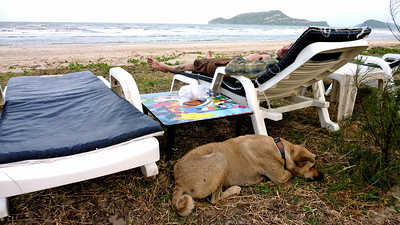 Lounge chair camping at the beach in Thailand. 2011