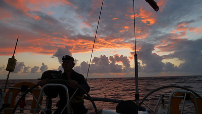 On the 6:30-10am watch with Jim at the helm. Getting up early has its rewards.