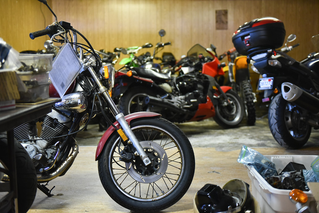 . (03/19/18 AYER MA) A room of project bikes await attention at Bikeworx in Ayer on Monday.  SENTINEL & ENTERPRISE JEFF PORTER