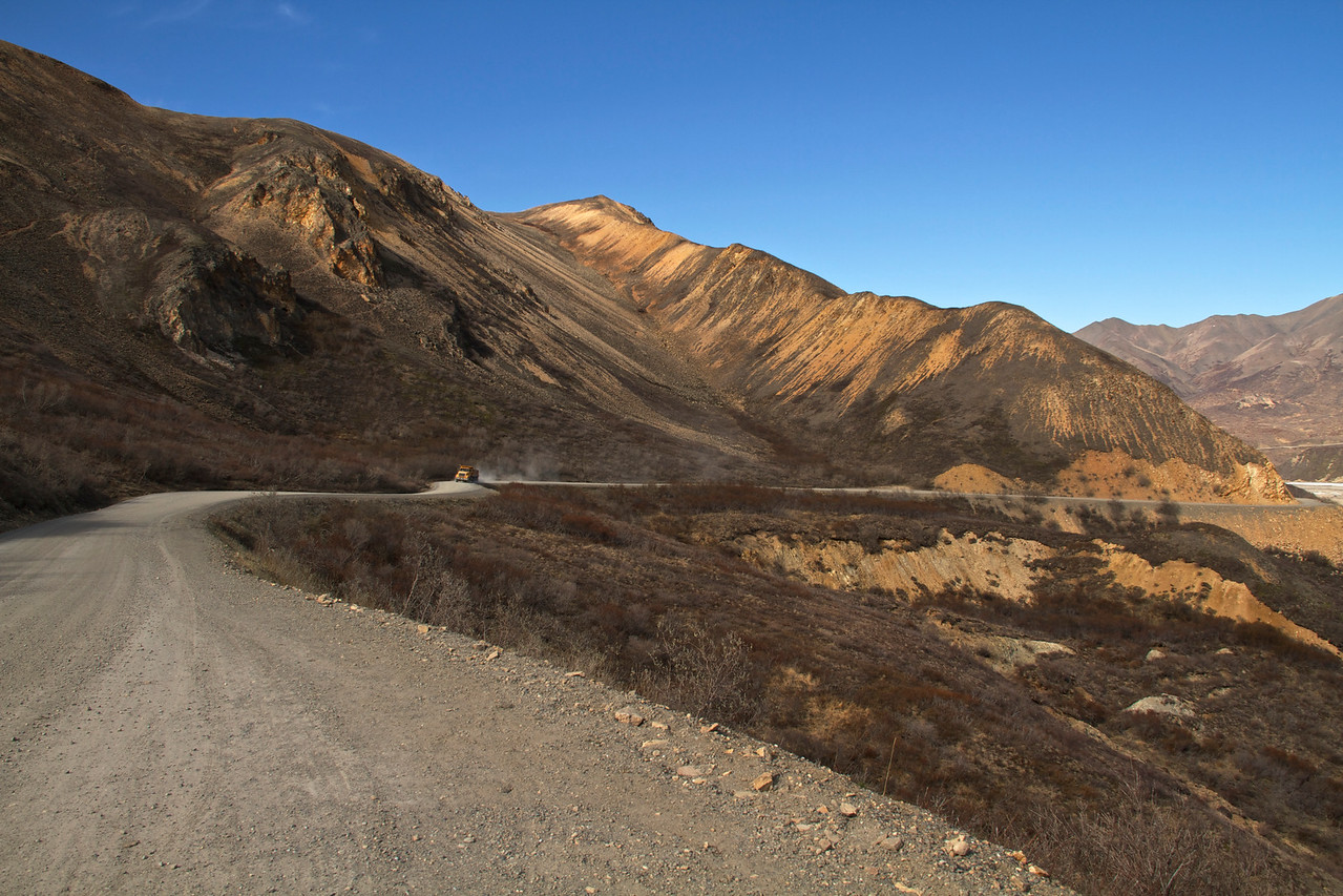 Looking east down Polychrome as I was biking west up the pass.  Trucks were hauling gravel for road maintenance.