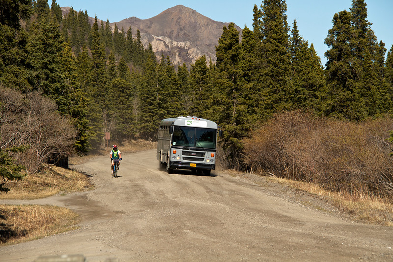 Bill next to a bus that was heading out to Kantishna