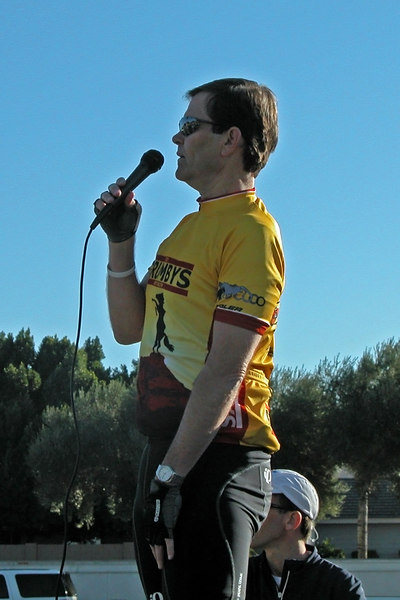 Sterling Baer at the conclusion of the escorted portion of the ride at Mike's Bikes in Mesa