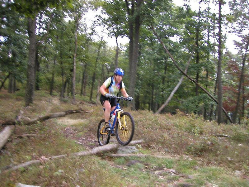 Mary Jo, a relative new comer to mtn biking shows us she has the right stuff.....Sorry about my camera's blurr.