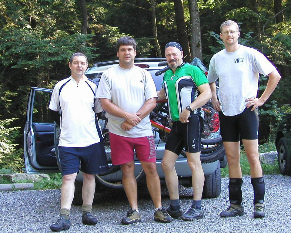 Brian, Kevin, Rob, & John getting ready to tast the sweet trails of  Tussey, 2004