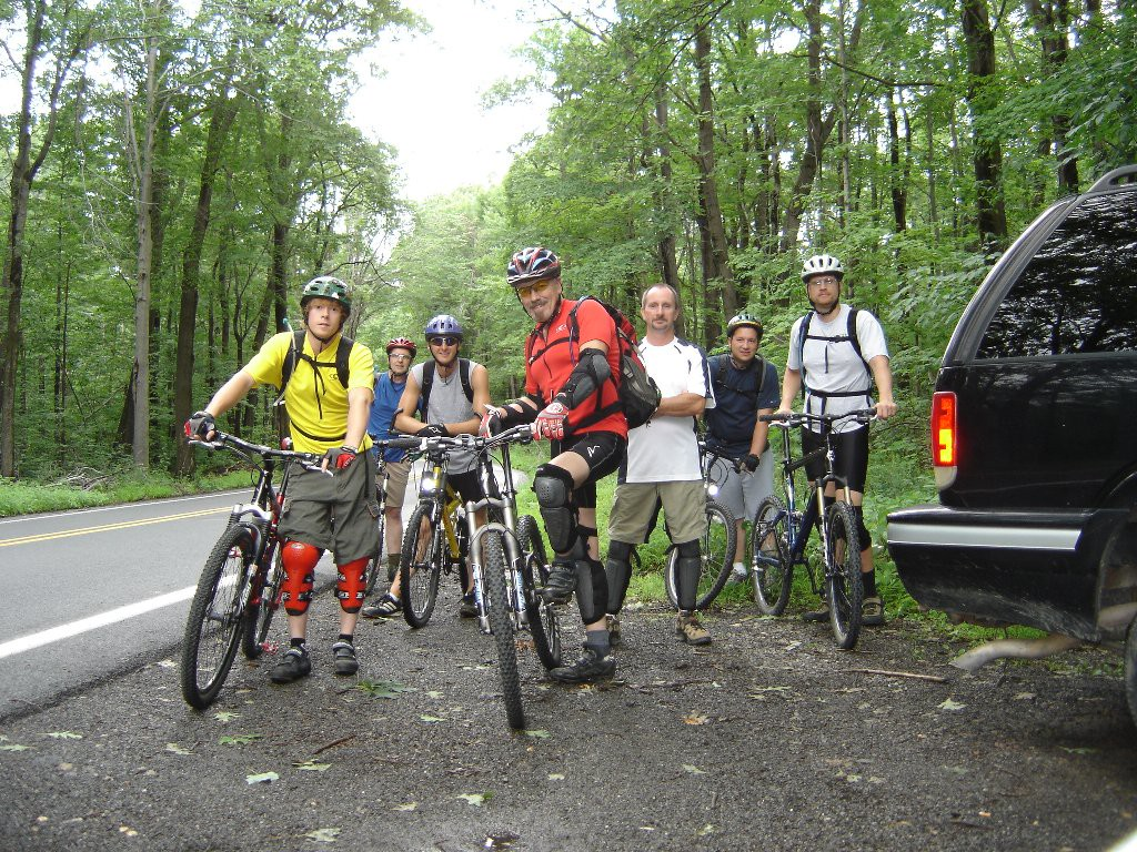 Here we are getting ready to do what we love: MOUNTAin BIKE Single Track!!!!!!!!!<br /> Left to right:  Rick, Brian, Ray, Rob, Darryl, Don, John<br /> We had a great year especially with the North Carolina Trip, & RCST Trails.  We also loved the Tussey mtn trails, Peekaboo, C & R trails, Black Moshannon, Sandy Ridge Trails, & are about to ride the Laural Hylands.... Darryl, & Rick went out to Mamouth mtn in calif....they played on awsome down hill trails...scaring themselves on incredible jumps....can't wait till winter is over again & we can start new adventures.
