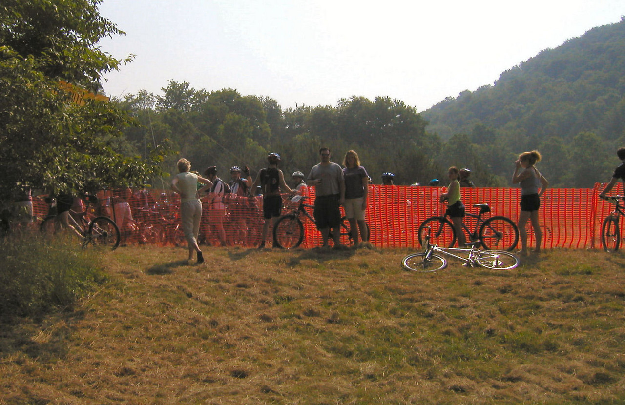 Dave & Krista at the fence trying to get our autograph.