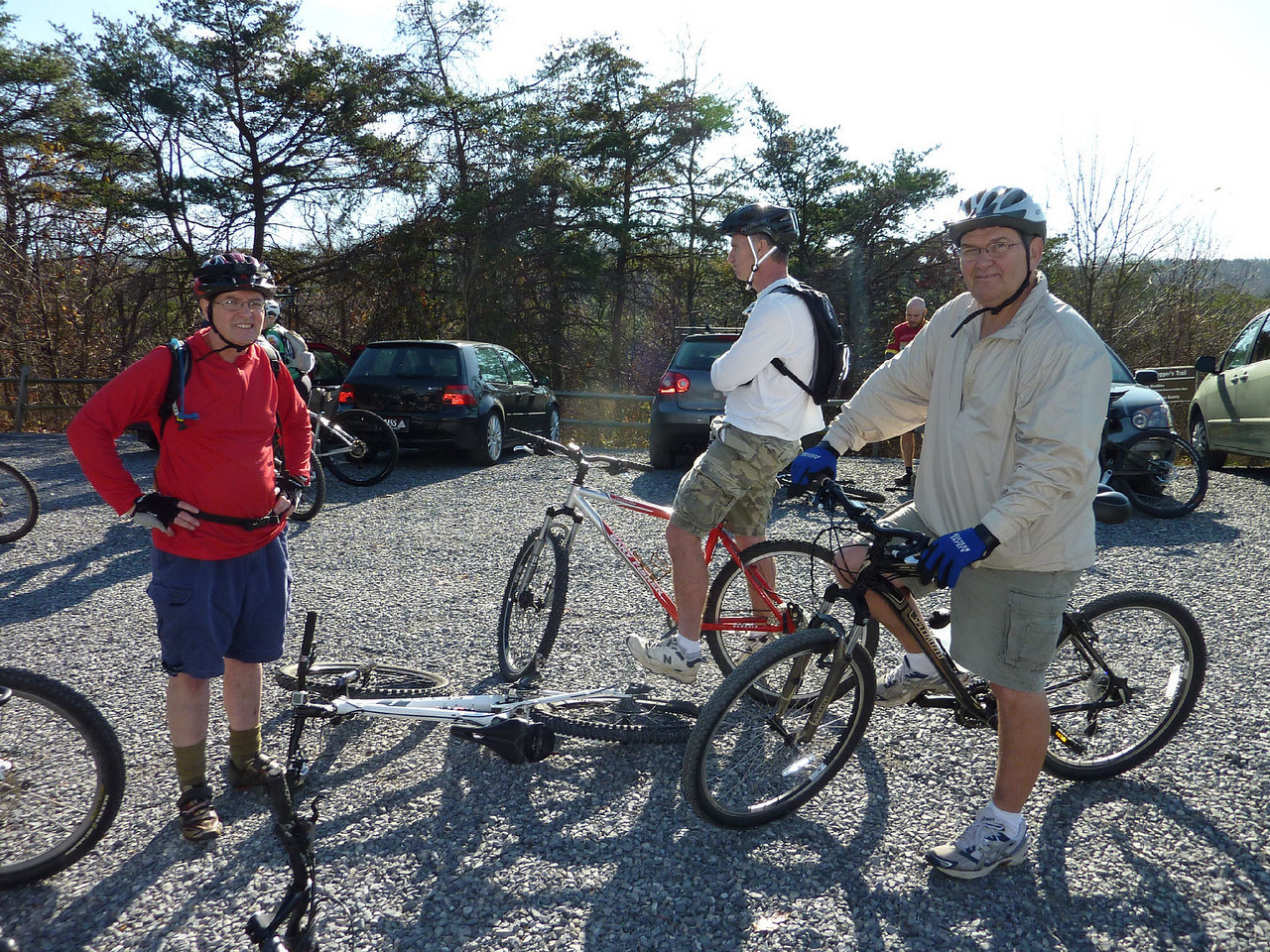 Brian brings some new comers to the trails, Bill & Walt.