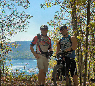 Ken & I at the pt of Allegheny Trail - bad quality phone picture.