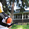My mascot, Huffin Puffin, waving goodbye to our Brady Lake home as we ride to meet the other ROMEOS en route to Canada.