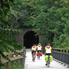 A tunnel on the Montour rail-trail, with ROMEO riders entering.  And yes, there is a light at the end of the tunnel.