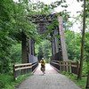 Neal exiting an old railroad bridge on the Montour Trail.
